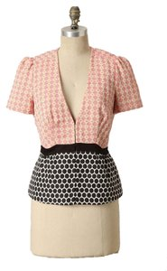 Anthropologie Pink Black Polka Dot Short Sleeve Jacket Blazer