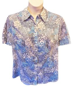 Fred David Plus Size Casual Cotton Short Sleeve Button Down Shirt Multi-Color
