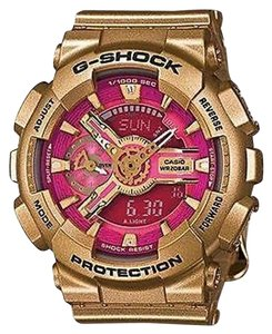 G-Shock G-shock Gmas110gd-4a1 Watch Mens Analog Digital Pink Dial Gold Tone