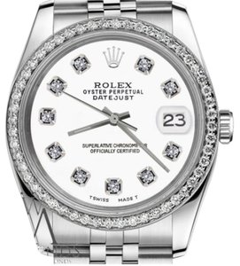 Rolex Men`s 36mm Datejust Stainless Steel White Color Dial Diamonds Watch