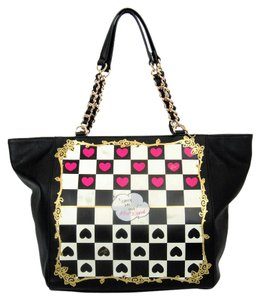 Betsey Johnson Checkered Leather Gold Hardware Tote in Black