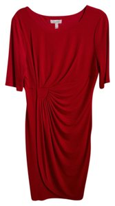 dressbarn Polly/spandex 3/4 Length Sleeves Side Detailing Machine Washable Dress