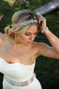 Ada Wedding Bridal Headpiece Crystal Headband Headpiece Satin Ribbon Vintage Inspired Art Deco Style