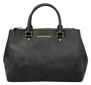 Michael Kors Gold Hardware Leather Sutton Tote in Black