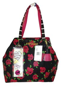 Betsey Johnson Rose Print Front Polka Dots On Xl Tote in black