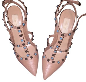 Valentino Beige with turquoise ans gold stones Pumps