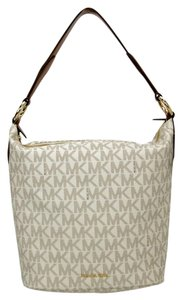 Michael Kors Monogram Canvas Elana Gold Hardware Shoulder Bag
