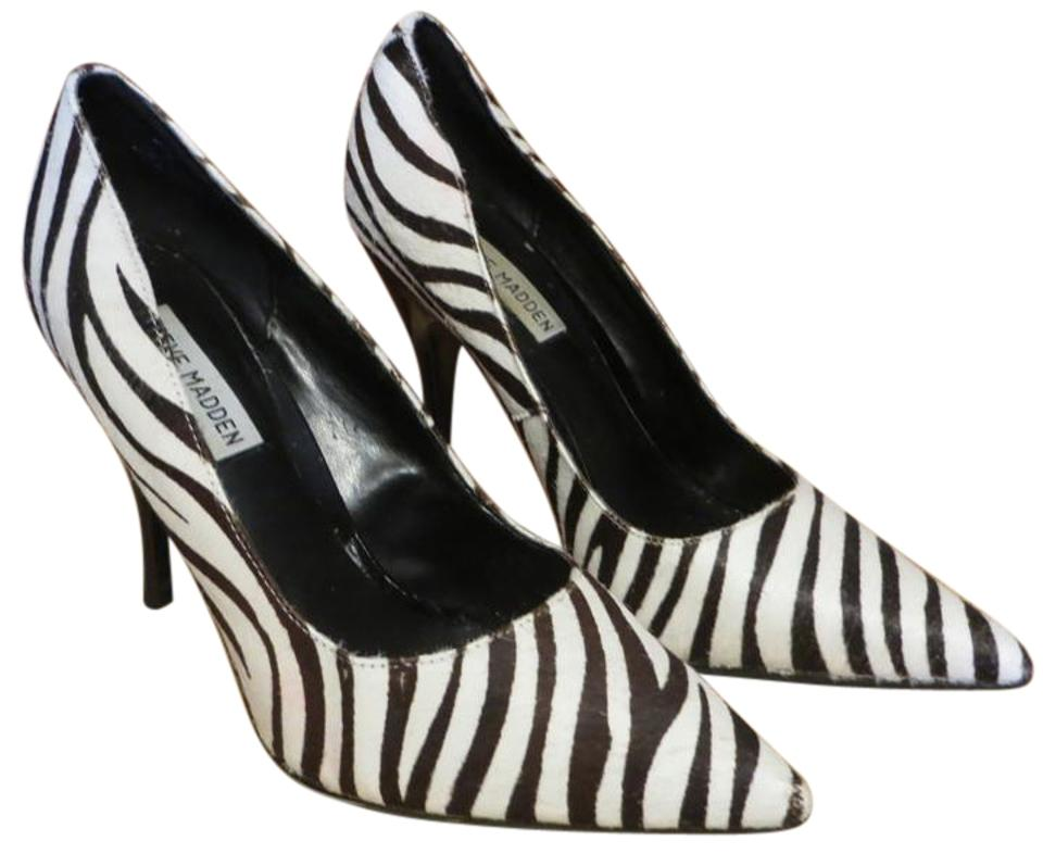 Steve Madden Zebra Animal Print Black White Zebra Madden High Heels Pumps 40459a