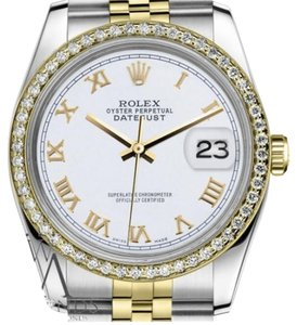Rolex Ladies Rolex 31mm Datejust 2 Tone White Roman Numeral Dial Watch
