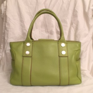 Michael Kors Leather Vintage Satchel in Light Lime Green
