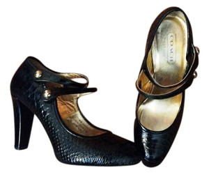 Coach Fall Black Snakeskin Pumps