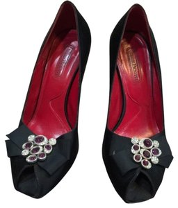 Cesare Paciotti Open Toe Stilettos Satin Embellished Peep Toe black Pumps