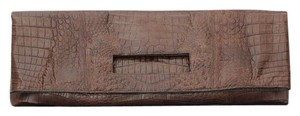 Nancy Gonzalez Crocodile Long Foldover Gonzalez Brown Clutch