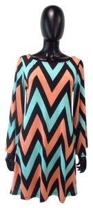 Auditions short dress Mint/Peach/Black Chevron Geometric Multicolored Shirt on Tradesy