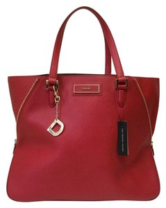 DKNY Red Saffiano Tote in Dark Red