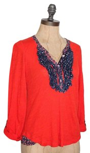 Anthropologie Ruffle Frayed Knit Top ORANGE