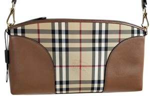 Burberry Convertible Check Print Crossbody Strap Supple Leather Zip Closure Honey/Tan Clutch