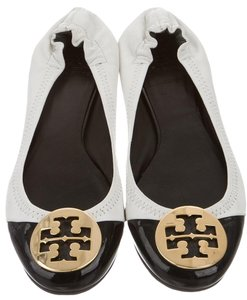 Tory Burch Round Toe Logo Hardware Black, White, Gold Flats