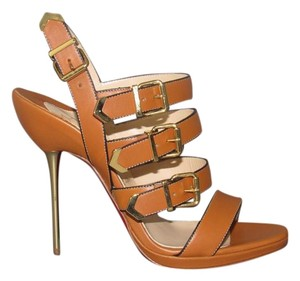 Christian Louboutin Funky 120 Tan Strappy Brown Sandals