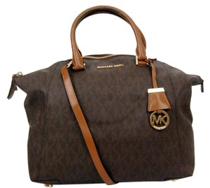 Michael Kors Classic Mk Gold Hardware Hang Tag Satchel in Monogram