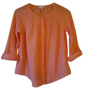 Joie Roll Sleeve Cotton Gauze Button Down Shirt peach
