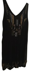 Hale Bob Beaded Silk V-neck Dress