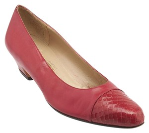 Salvatore Ferragamo Snakeskin Narrow Ferragamo Red Pumps