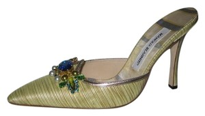 Manolo Blahnik Mule Lime green with gold trim Mules