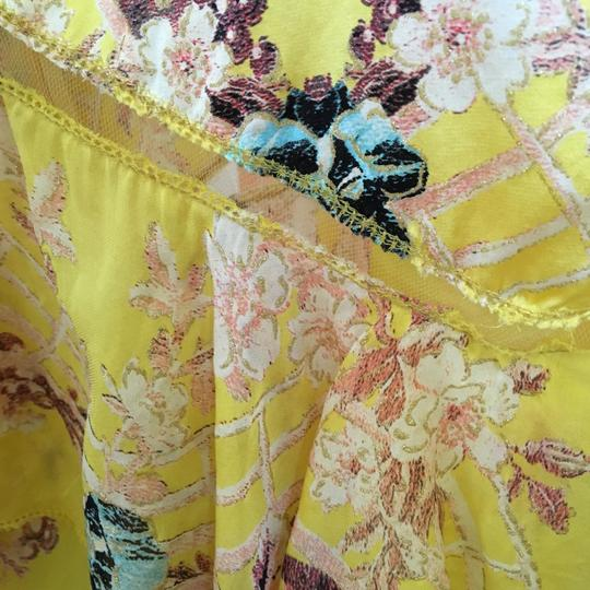 Roberto Cavalli 2003 Runway Canary Yellow Silk Floral Chinoiserie Print Dress - 52% Off Retail durable service