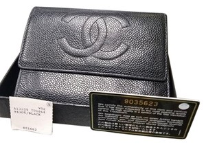 Chanel CHANEL CC LOGOS TRI-FOLD WALLET CAVIAR SKIN LEATHER VINTAGE ITALY