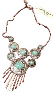 Lucky Brand Fringed Adjustable Turquoise and Silver Necklace JLRY 2778