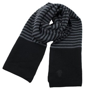 Tory Burch Carey Scarf in Dark Gray Melange / Black