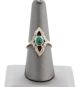 Vintage Estate 14k Yellow Gold Emerald Diamond Ring