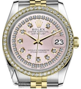 Rolex Women`s Rolex 26mm Datejust 2 Tone Pink String Diamond Dial Watch