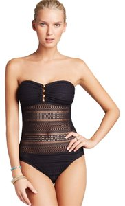 Ralph Lauren Black Crochet Lace Ava Bandeau Swimsuit - NWT