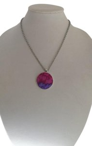 Ldycrow Pewter necklace with bright multi color material design