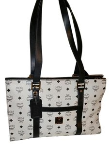 MCM Tote in White/Navy Blue