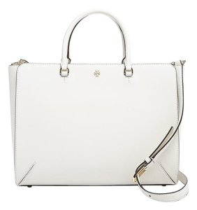 Tory Burch Robinson Saffiano Leather Top Zip Tote in New Ivory