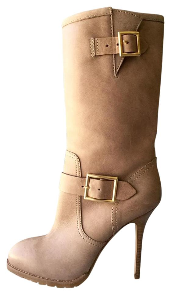 Jimmy Mid Choo Taupe Buckle Leather Mid Jimmy Calf Boots/Booties 06632a