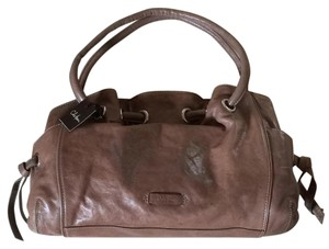 Cole Haan Leather Aged Satchel in Taupe Gray Brown