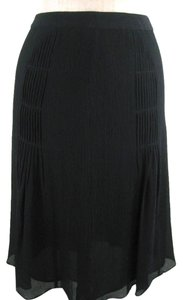 Ann Taylor Silk Pleated Skirt Black