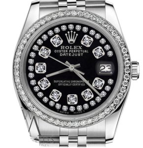 Rolex Women`s 26mm Datejust Glossy Black String Diamond Accent Dial Watch