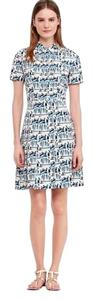 Tory Burch short dress White with shades of blues Shirt Short Sleeves on Tradesy