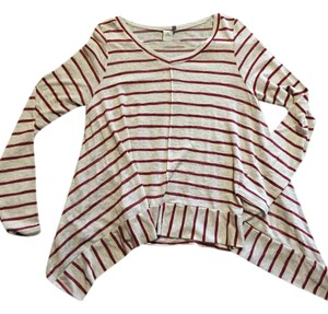 Paper Crane T Shirt Maroon stripes on beige