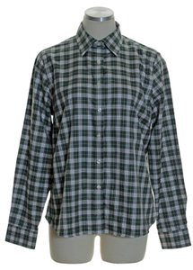 Lands' End Plaid Long Sleeve Oxford Button Down Shirt Green