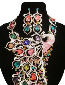 Women Necklace Earring Silver Rhinestones Glamorous Peacock Statement