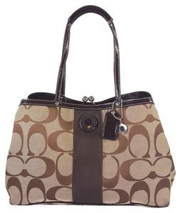 Coach Signature Jacquard Satchel in Khaki & Brown