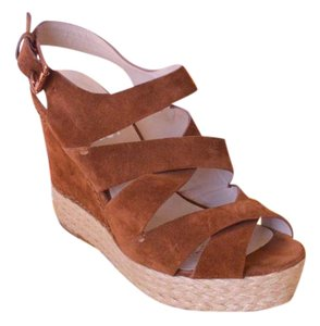 Michael Kors Cynthia 9 Criss Cross Brown Wedges