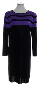 Misook short dress Black Purple Knit Stretchy Long Sleeve on Tradesy