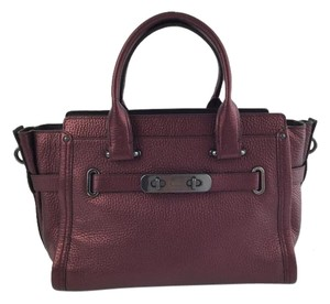 Coach & Purses Leather Satchel in Metallic Purple